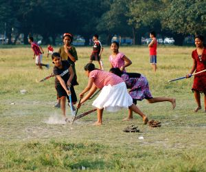 Young girls playing hockey in Kolkata