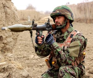 KUNDUZ, Jan. 17, 2018 - An Afghan security force member takes position in a military operation in Chahar Dara district of Kunduz province, Afghanistan, Jan. 16, 2018. The Kunduz province, as well as ...