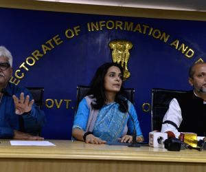 (L-R) Delhi Government Employees Welfare Association President D N Singh, Delhi Government Secretary Puja Joshi and Deputy Secretary Sandeep Mishra during a press conference organised by ...