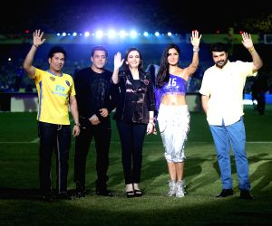 (L-R) Kerala Blasters co- owner Sachin Tendulkar, actor Salman Khan, Reliance Foundation Founder Nita Ambani and actors Katrina Kaif, Mammootty during the opening ceremony of Indian Super ...