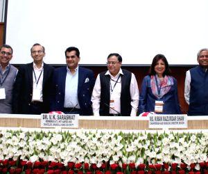 (L-R) Lakshmi Mittal and Family South Asia Institute Director Tarun Khanna, Harvard Business School Professor Jorge Paulo Lemann, NITI Aayog CEO Amitabh Kant, NITI Aayog Member and ...
