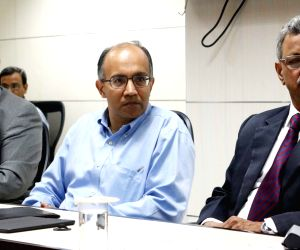 (L to R) Anand Deshpande, Rajesh Jain and J Satyanarayana during a programme organised to appoint Unique Identification Authority of India (UIDAI) team in New Delhi on Sept 8, 2016.