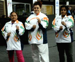 Kashmira Chaukasi, Keyuri Patel, Kinjal Vohra during 6th Gojukai Karate Championship
