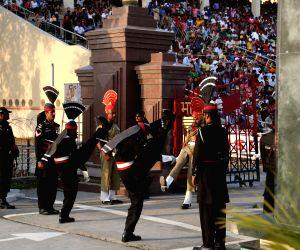 PAKISTAN-LAHORE-WAGAH BORDER-FLAG LOWERING CEREMONY