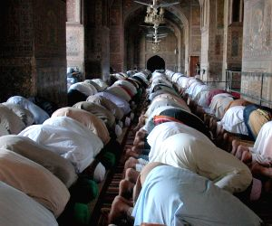 Pakistani Muslims offer special Friday prayer at a mosque during holy month of Ramadan in eastern Pakistan's Lahore
