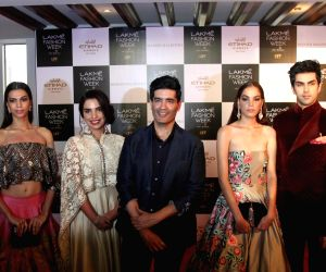 Lakme Fashion Week and Fashion designer Manish Malhotra announce The Next Step In Digital Revolution along with Etihad Airways, in Mumbai on Aug 16, 2016. (Photo : IANS)
