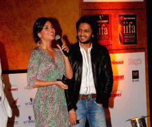 Lara Dutta and Ritesh Deshmukh grace IIFA initiative media meet in Grand Hyatt, Mumbai on Wednesday afternoon.