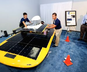 LAS VEGAS, Sept. 14, 2016 - Students from the University of California, Berkeley, show their self-designed solar-powered car at the Solar Power International (SPI) 2016 exhibition in Las Vegas, the ...