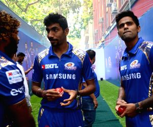 Players of Mumbai Indians seen at Burger King