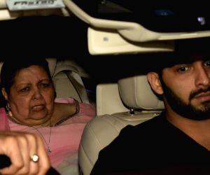 Late filmmaker Yash Chopra's wife Pamela Chopra arrives at her grand-daughter Adira's birthday party hosted by Rani Mukerji and Aditya Chopra in Mumbai on Dec 9, 2018.
