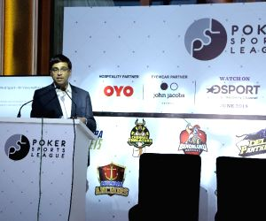 Legendary chess player Viswanathan Anand addresses after unveiling the Grand Finale Trophy for Poker Sports League Season 2 in New Delhi on April 16, 2018.
