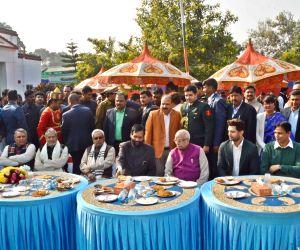 Lok Janshakti Party (LJP) President Ram Vilas Paswan with Bihar Governor Lalji Tandon, Chief Minister Nitish Kumar, Deputy Chief Minister Sushil Kumar Modi, BJP leader Nityanand Rai, LJP ...