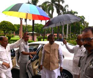 Lok Sabha Speaker Om Birla arrives at Parliament in New Delhi on July 17, 2019.