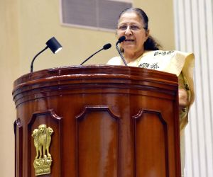 """Lok Sabha Speaker Sumitra Mahajan addresses at the launch of """"Moving On... Moving Forward: A Year In Office"""" - a book marking the completion of Naidu's one year as the Vice ..."""