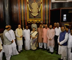 Lok Sabha Speaker Sumitra Mahajan with Union Ministers Rajnath Singh, Ananth Kumar, Arjun Ram Meghwalm, Prakash Javadekar, BJP MP Subramanian Swamy, CPI General Secretary D Raja and ...