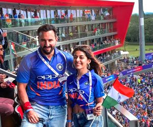 London: Actress Pooja Bedi's daughter Alaia F and actor Saif Ali Khan during India's match against Pakistan at the 2019 ICC World Cup, in London, on June 16, 2019. (Photo: Instagram/alaiaf_)