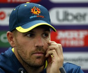 London: Australian skipper Aaron Finch during a press conference ahead of his team's 2019 ICC Cricket World Cup match against India, at the Oval in London on June 8, 2019. (Photo: Surjeet Yadav/IANS)