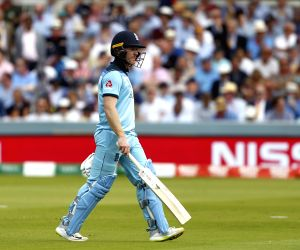 London: England's skipper Eoin Morgan walks back to the pavilion after getting dismissed during the final match of the 2019 World Cup between New Zealand and England at the Lord's Cricket Stadium in London, England on July 14, 2019. (Photo: Surjeet Y