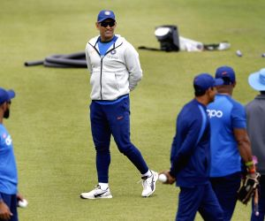 London: India's MS Dhoni during a practice session ahead of their 2019 ICC Cricket World Cup match against Australia, at the Oval in London on June 8, 2019. (Photo: Surjeet Yadav/IANS)