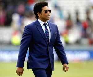 London: Indian legendary cricketer Sachin Tendulkar during the final match of the 2019 World Cup between New Zealand and England at the Lord's Cricket Stadium in London, England on July 14, 2019. (Photo: Surjeet Yadav/IANS)
