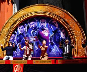 LOS ANGELES, April 24, 2019 - Actors Chris Hemsworth, Chris Evans, Robert Downey Jr., actress Scarlett Johansson, actors Mark Ruffalo, Jeremy Renner (From L to R) attend their print ceremony in the ...