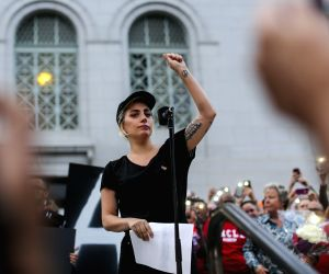 LOS ANGELES, June 14, 2016 - Singer Lady Gaga attends a candlelight vigil at Los Angeles City Hall for the victims of Sunday's Orlando nightclub shooting incident, in Los Angeles, California, the ...