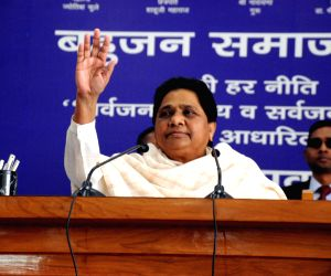 Lucknow: Bahujan Samaj Party (BSP) supremo Mayawati addresses during a party office-bearers and leaders meeting in Lucknow on March 3, 2019. (Photo: IANS)