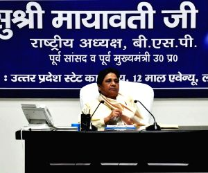 Lucknow: BSP supremo Mayawati addresses party workers at a meeting, in Lucknow on July 2, 2019. (Photo: IANS)