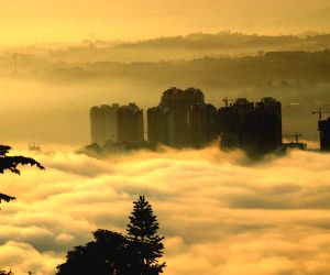 A view of morning fog over Hejiang County in Luzhou