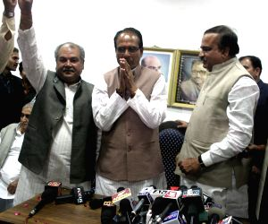 Shivraj Singh Chauhan during a press conference as BJP leads in Madhya Pradesh Assembly Polls