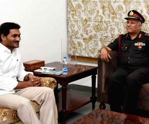 Major General N Srinivas Rao, General Officer Commanding (GOC), Telangana and Andhra Sub Area meets Andhra Pradesh Chief Minister YS Jagan Mohan Reddy in Vijayawada on July 18, 2019.