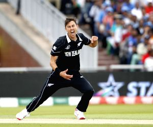 Manchester: New Zealand's Trent Boult celebrates the dismissal of Virat Kohli during the 1st Semi-final match of 2019 World Cup between India and New Zealand at Old Trafford in Manchester, England on July 10, 2019. (Photo: Surjeet Kumar/IANS)