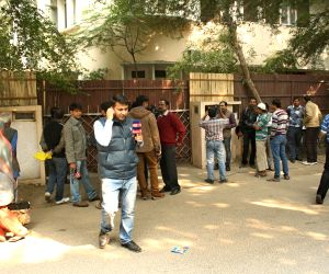 Media persons outside Tarun Tejpal's House