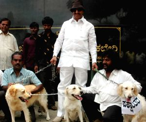 Protesting with dogs against changing party of political leaders