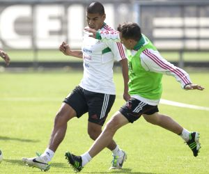 Mexico players participate in a training session before the friendly match against Cote d'Ivoire