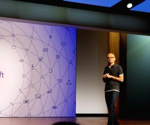 Microsoft CEO Satya Nadella speaking at Build 2018 Developers' Conference in Redmond, Washington, on May 7, 2018.