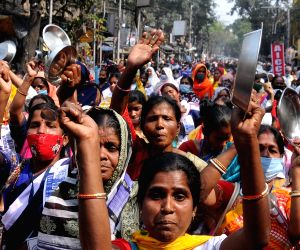 Mid-day meal workers took part in a protest rally against the West Bengal Government for their various demands in Kolkata on Wednesday 24th February, 2021