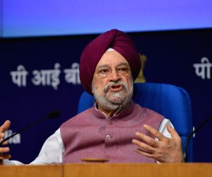 Hardeep Singh Puri addressing a press conference