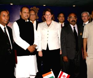 Minister of Food Processing Industries,Subodh Kant Sahai with the Ministers from Canada Diane John, John Clarkson and the deligates at the signing MoU between Indian Institute of Crop Processing Technology (IICPT) and University of Manitoba, Canada.