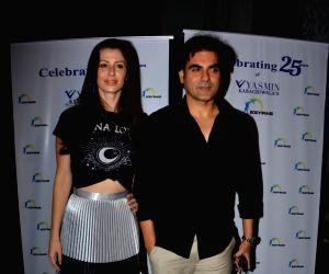 Giorgia Andriani and Arbaaz Khan during a programme