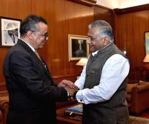MoS External Affairs V. K Singh meets World Health Organisation (WHO) Director General Tedros Adhanom Ghebreyesus in New Delhi on March 14, 2018.