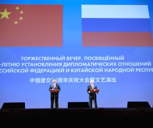 MOSCOW, June 6, 2019 - Chinese President Xi Jinping (L) and his Russian counterpart Vladimir Putin attend a gathering marking the 70th anniversary of the establishment of the China-Russia diplomatic ...