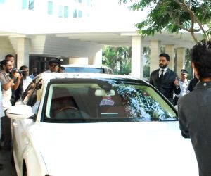Abhishek Bachchan arriving in his Audi A8L car