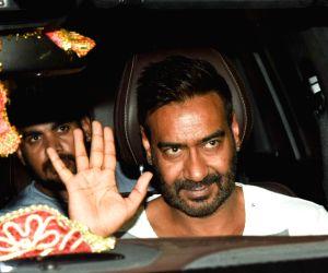 "Mumbai: Actor Ajay Devgn at the screening of his film ""Raid"" in Mumbai on March 15, 2018.(Photo: IANS)"