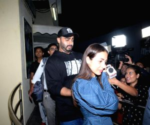 "Mumbai: Actor Arjun Kapoor with his girlfriend-actress Malaika Arora, at the screening of his upcoming film ""India's Most Wanted"" in Mumbai, on May 16, 2019. (Photo: IANS)"