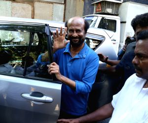 Mumbai: Actor Rajinikanth seen at Mumbai's Bandra, on April 22, 2019. (Photo: IANS)