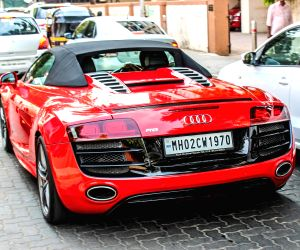 Saif Ali Khan with his swanky Audi R8 V10 Spyder car