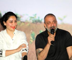 "Mumbai: Actor Sanjay Dutt along with his wife Manyata Dutt at the trailer launch of Marathi Film ""Baba"" in Mumbai on July 16, 2019. (Photo: IANS)"