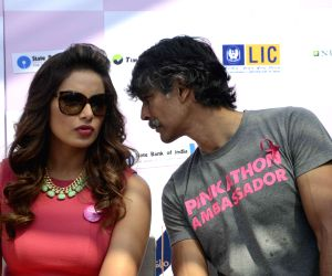 Bipasha, Milind at Pinkathon press conference
