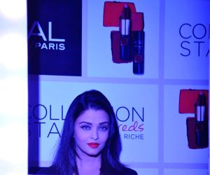 Aishwarya Rai Bachchan during the launch of Moist Matte Collection Pure Reds lipsticks by L'Oreal Paris